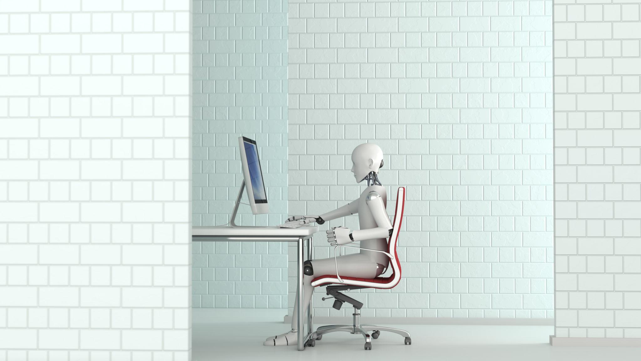 Robot working at desk, 3D Rendering