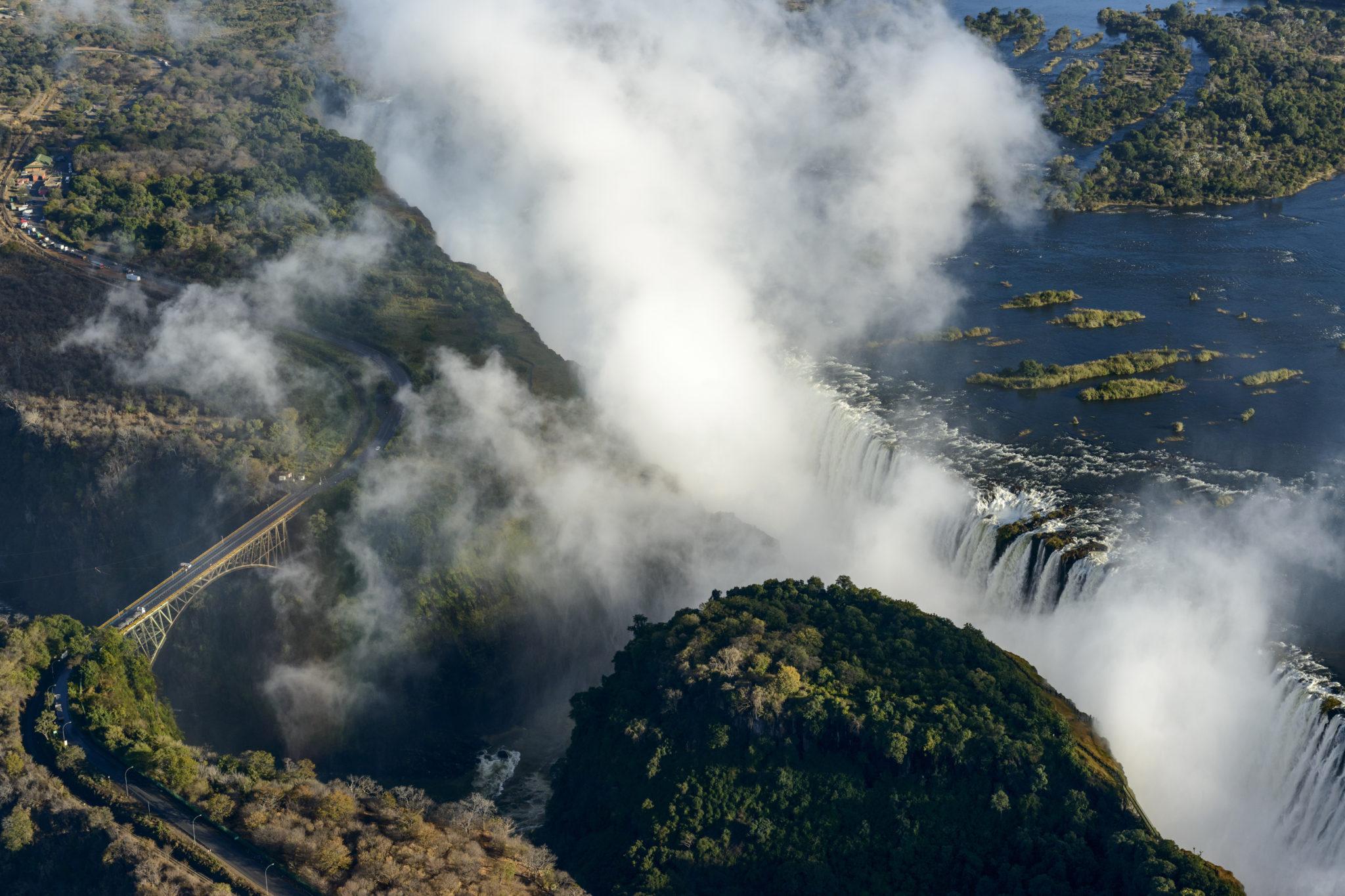 Aerial view of Zambezi River and Victoria Falls. Livingstone. Zambia