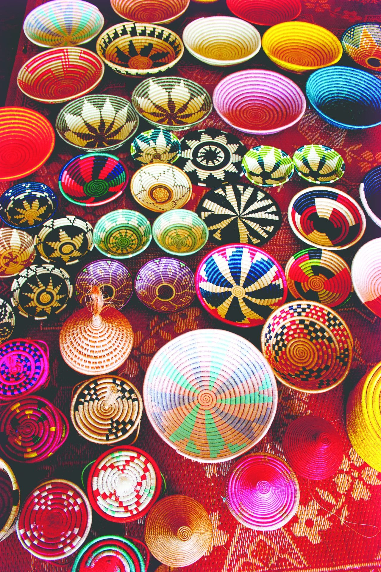 Colorful baskets ready for sale