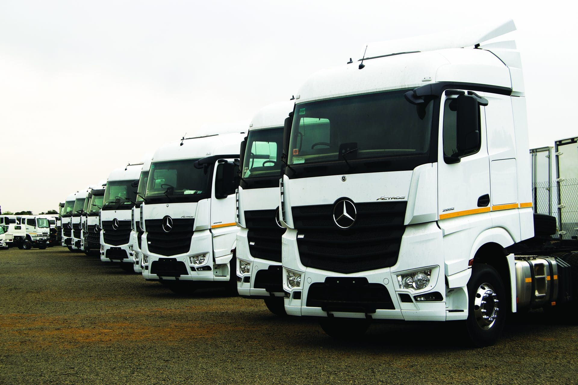 Trucks parked at the One Logix facility in Kempton Park, Johannesburg