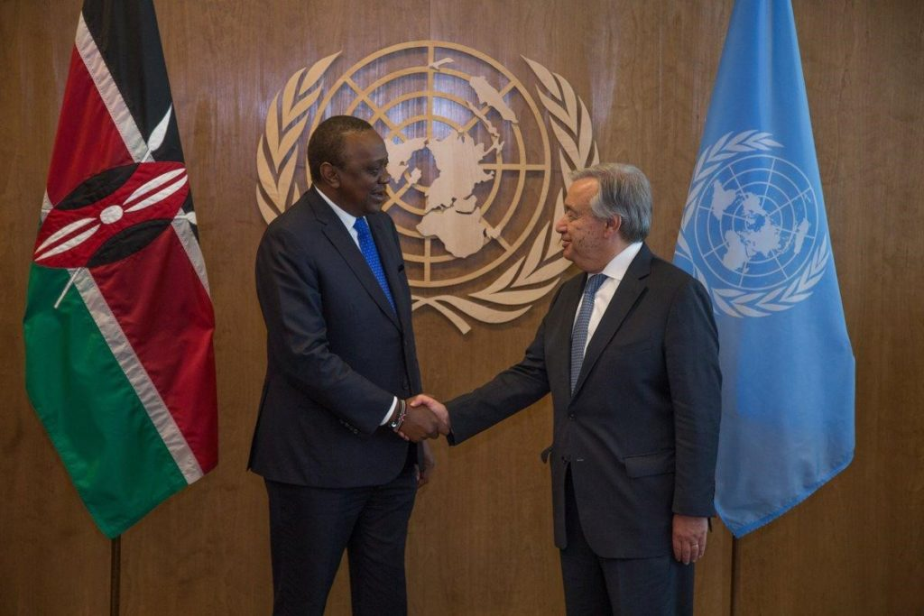President Uhuru Kenyatta with UN Secretary General Antonio Guterres. Kenyatta was on Monday unanimously endorsed by world leaders to champion a new UN intervention on youth education, training and employment.