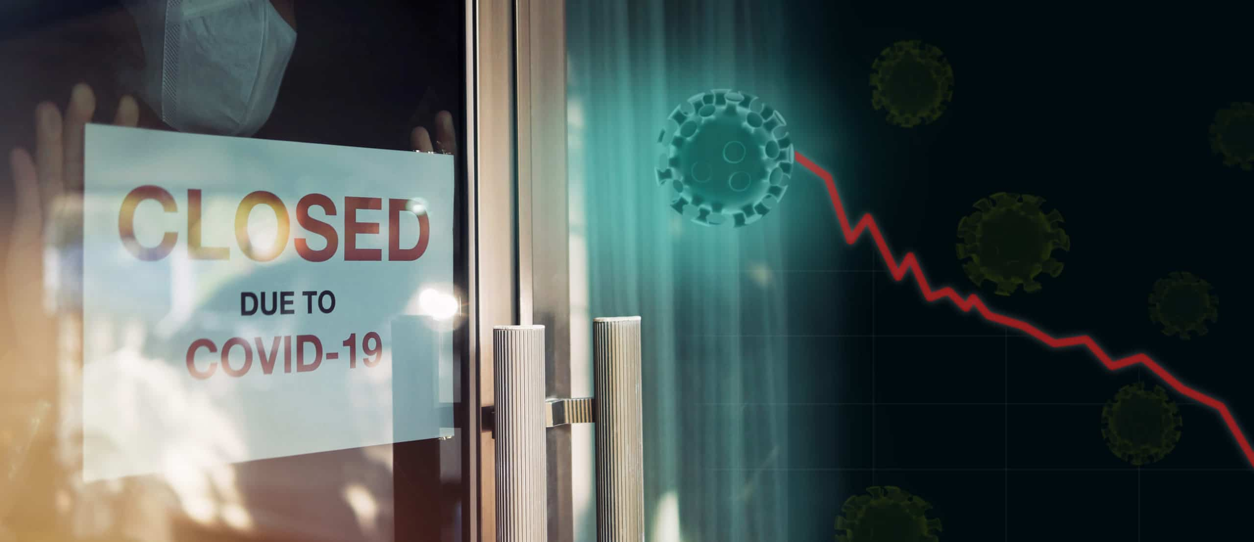 Business office is closed, bankrupt business, global economic crisis impact by Coronavirus COVID-19 pandemic concepts. Unidentified person wearing mask put closed sign on front door with 3d viruses recession graph