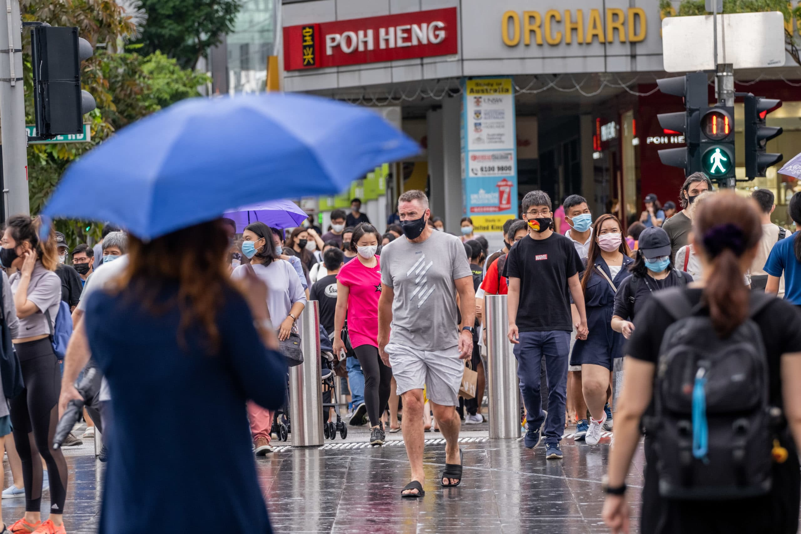 People wearing face masks as a preventive measure against
