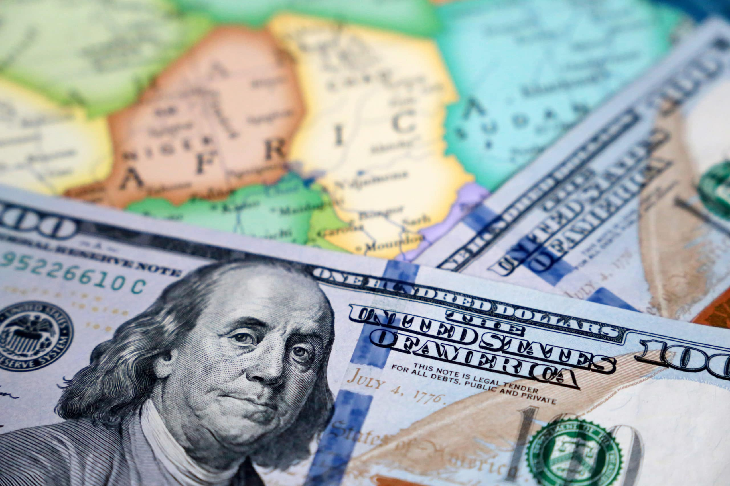 US dollar on the Africa map background