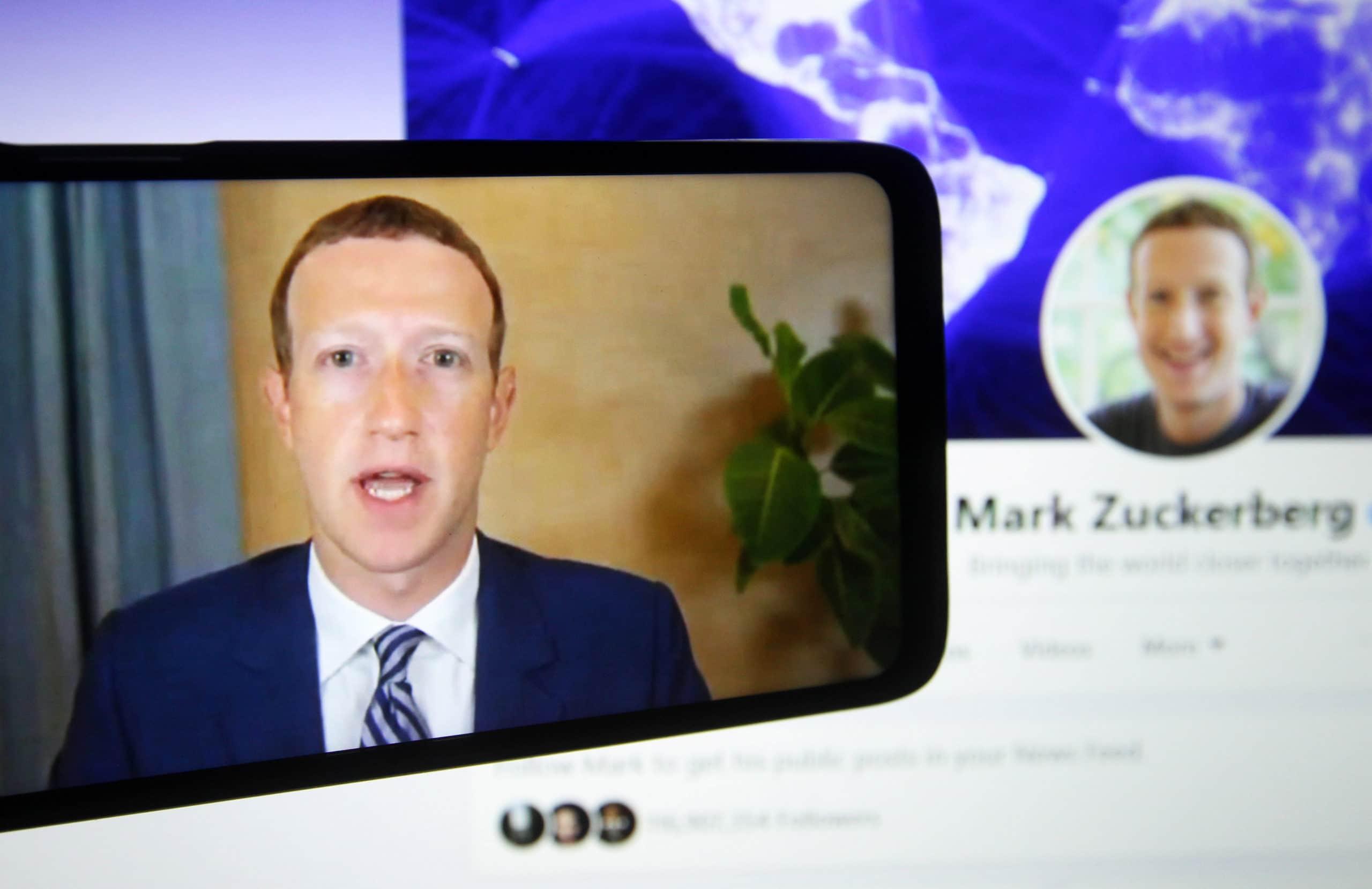 In this photo illustration, Facebook CEO Mark Zuckerberg