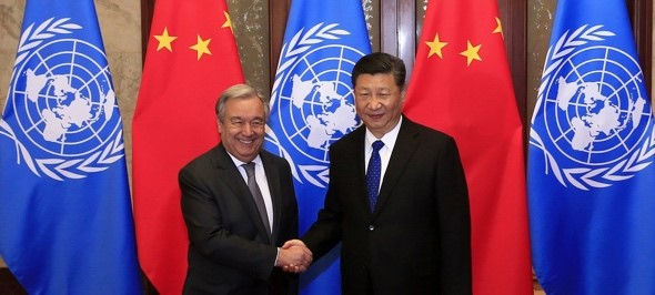 In Beijing, UN Secretary-General António Guterres meets with Chinese President Xi Jinping. Photo credit: UN China/Zhao Yun April 2018