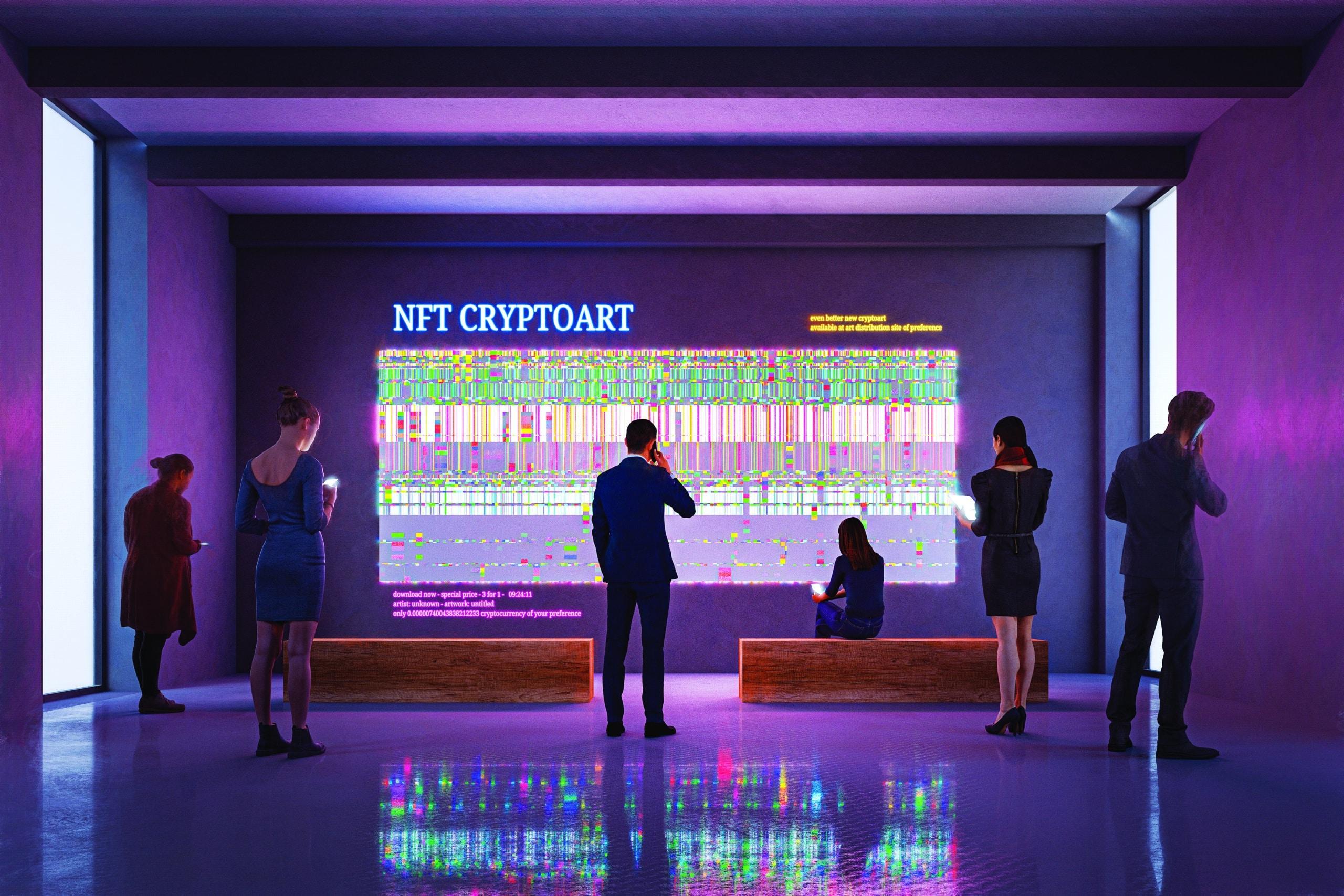 NFT CryptoArt display in art gallery