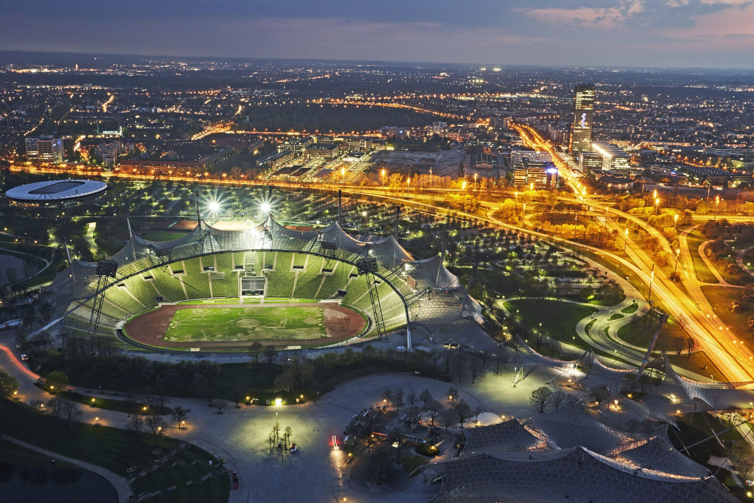 Aerial view of Munich's Olympic stadium illuminated at night